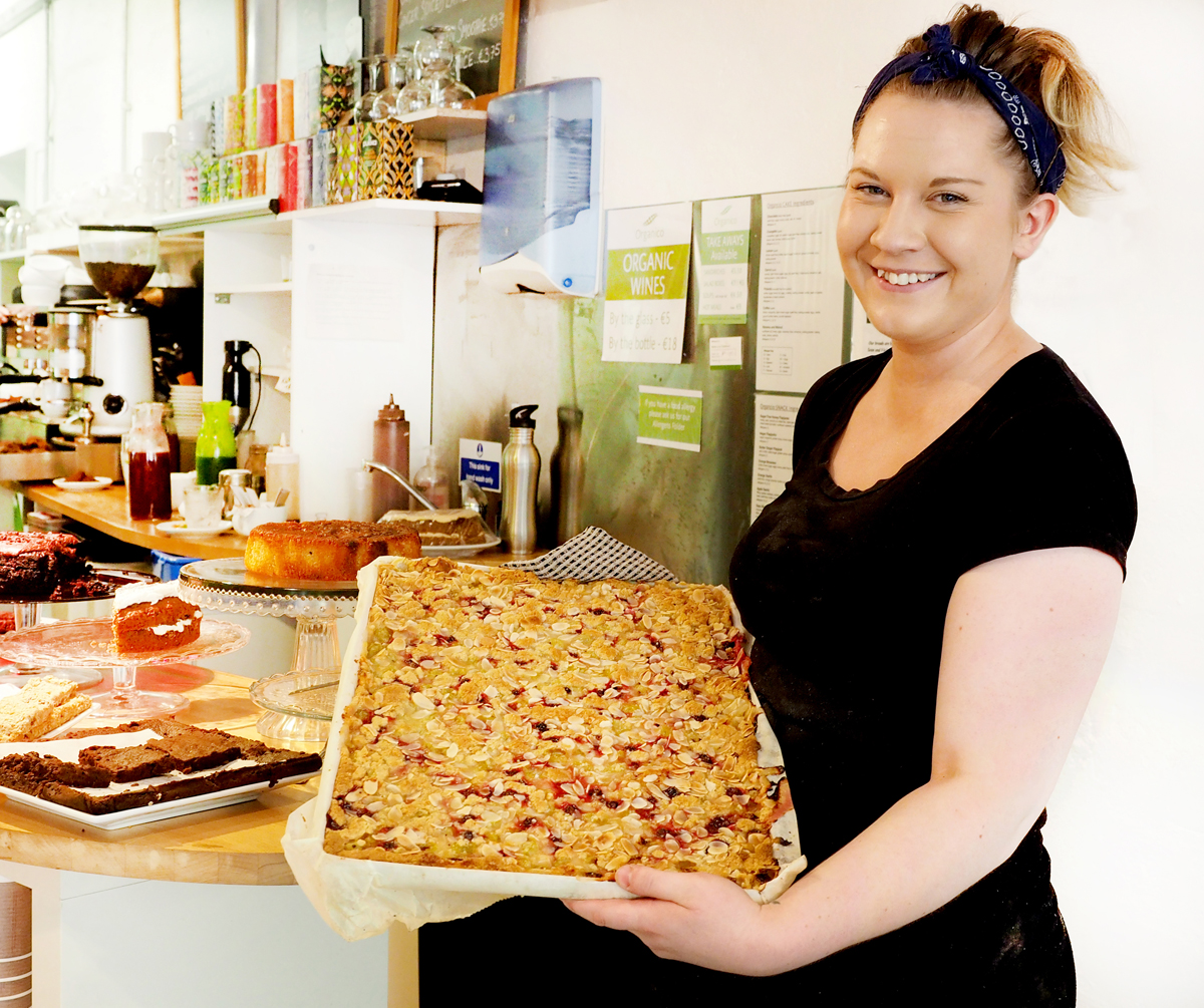 Laura with a fresh tray of cherry slices