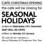 Organico Cafe Seasonal Holidays 2014