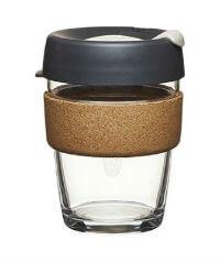 Small glass KeepCup with cork band and black lid : Organico Blog