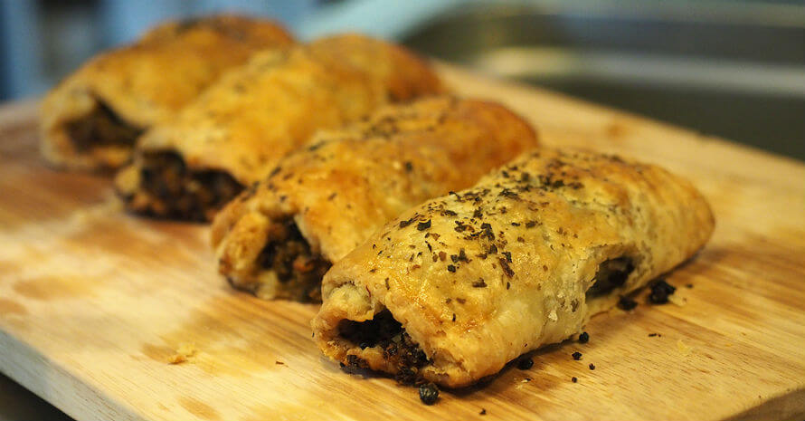 Sausage Rolls with Nori Flakes made in Organico Cafe