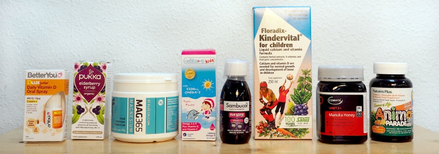 Selection of health products for kids available at Organico