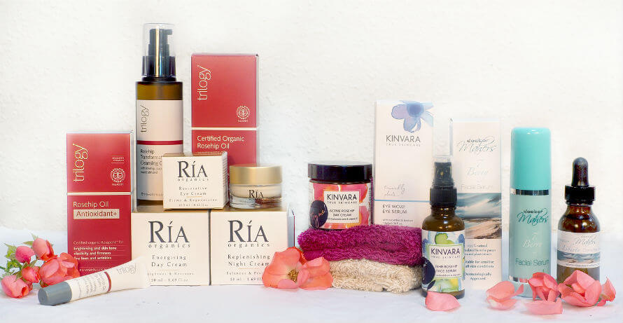 A collection of skincare products containing rosehip oil available at Organico