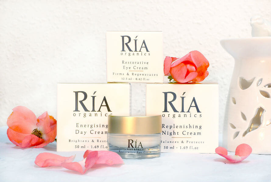 Ria Organics skincare products containing rosehip oil