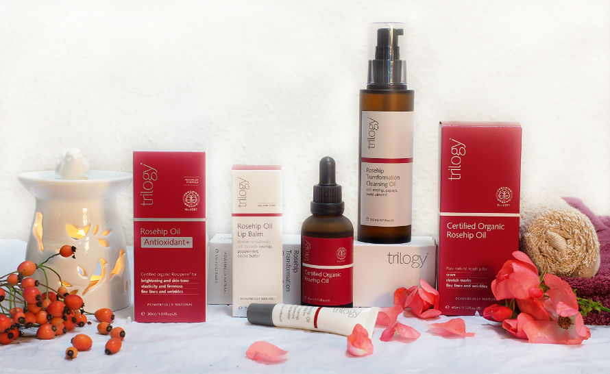 A collection of Trilogy products containing rosehip oil