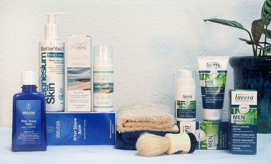 Men's natural skincare products, moisturisers, lotion and after shave balms available at Organico