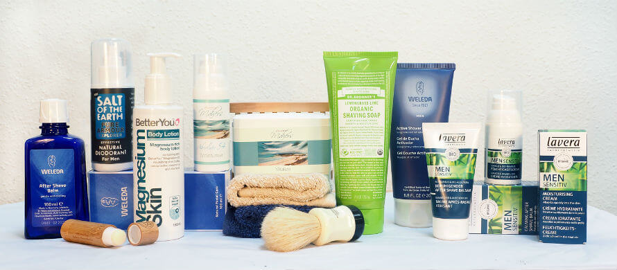 Selection of men's natural skincare products available at Organico