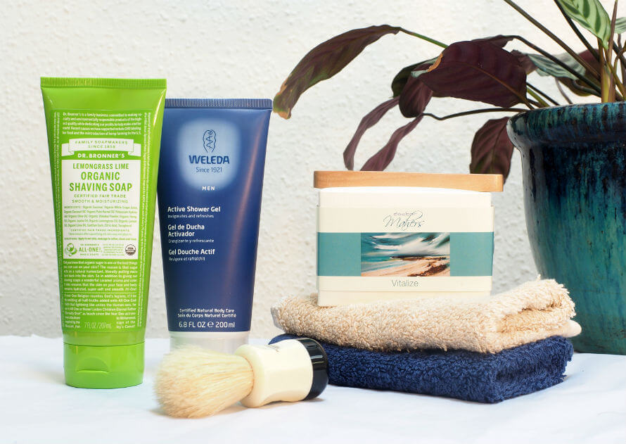 Men's natural skincare products, soaps and cleansers available at Organico