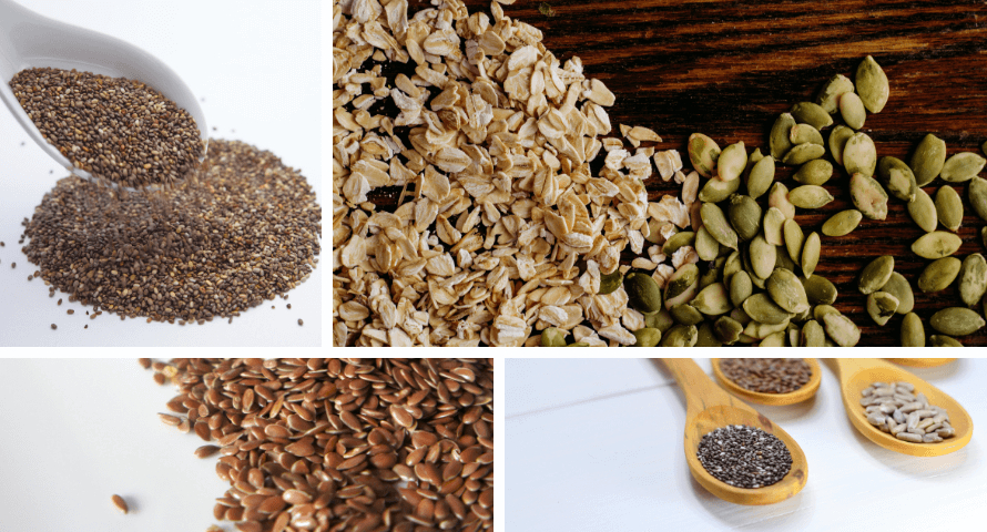 Images of oats and seeds from the recipe for Life-Changing Bread