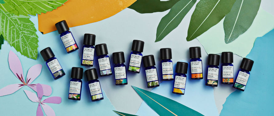 Bottles of essential oils from The Nature of Things