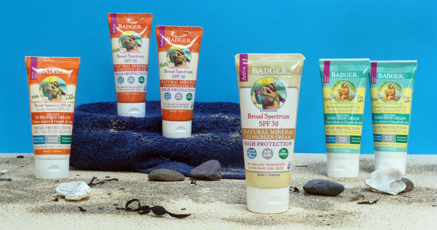 Badger Natural Mineral Sunscreen Products Available at Organico