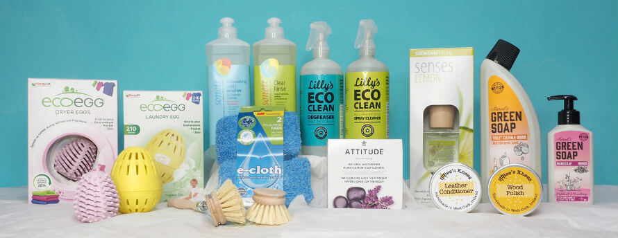 Selection of eco-friendly cleaning products available at Organico