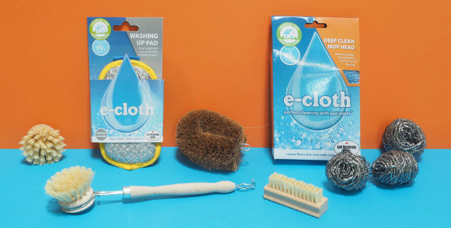 E-cloth cleaning supplies and wooden brushes for washing up