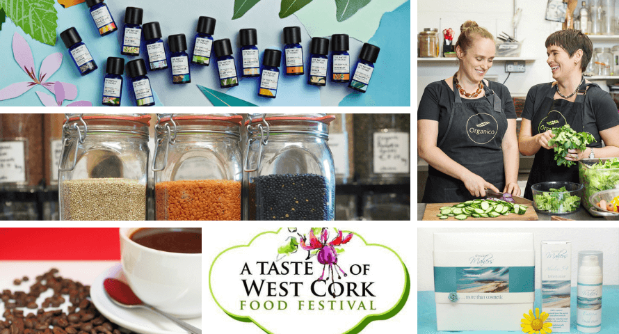 Collage of images related to events taking place at Organico for 2019 A Taste of West Cork Food Festival