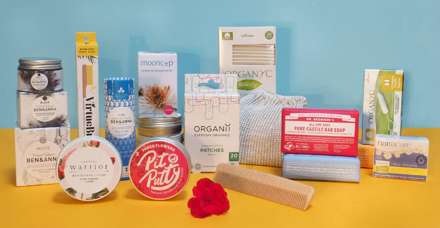 Selection of Plastic-Free Bathroom Products available at Organico