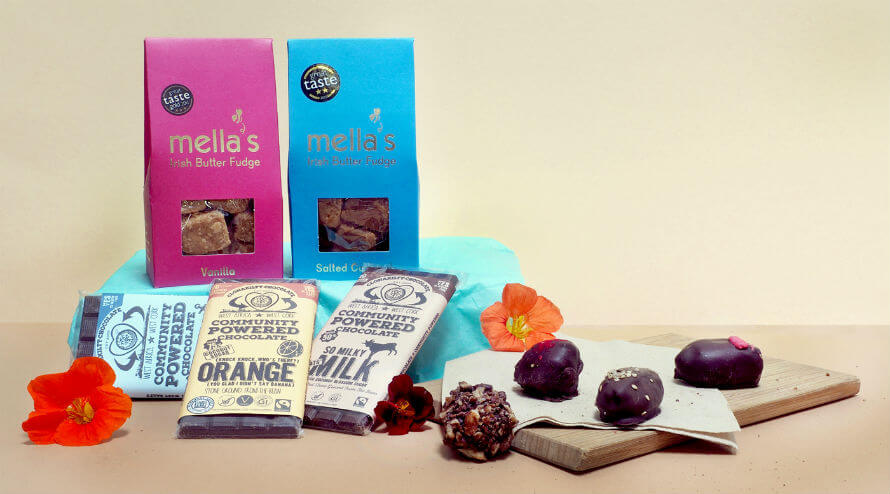 Local sweets available at Organico including Mella's Fudge, Clonakilty Chocolate and Hungry Crow chocolate