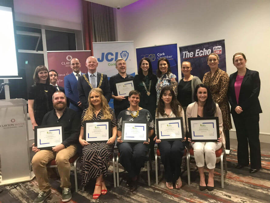 Hannah and Rachel Dare of Organico with the recipients of this year's Junior Chamber Internation Cork Friendly Business Awards