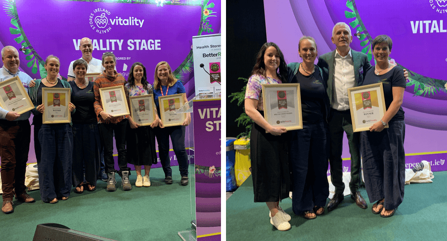 Hannah and Rachel Dare of Organico receiving an award at Vitality Exp