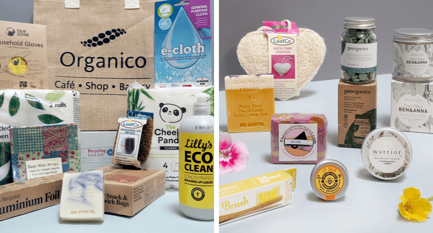 Side by side images of the contents of the Zero-Waste Starter Packs for home and body at Organico