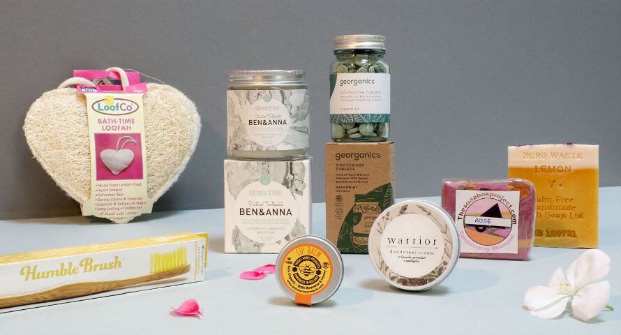 Contents of the Zero-Waste Bodycare Starter Pack available at Organico