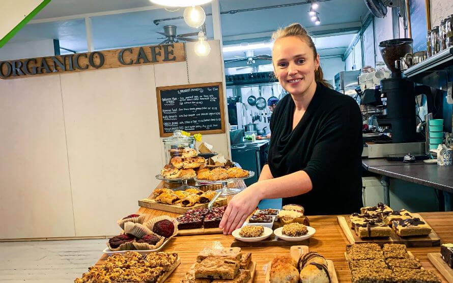 Rachel Dare behind the new counter of Organico Cafe
