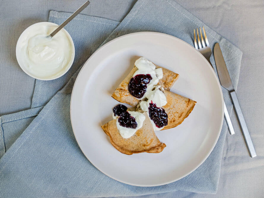 Durrow Mills Sprouted Buckwheat Pancakes with jam and yoghurt