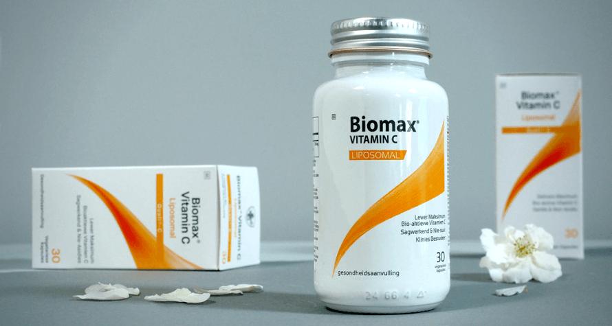 Bottles of Biomax Liposomal Vitamin C