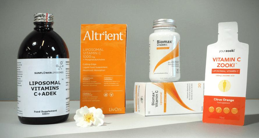 Various liposomal vitamin c products available at Organico
